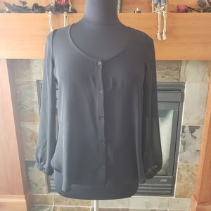 3/$15 Lush Sheer Long Sleeve Top with Cut Out Back